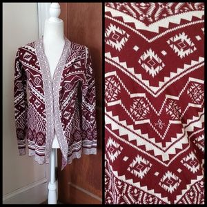 PINK ROSE open front tribal print cardigan
